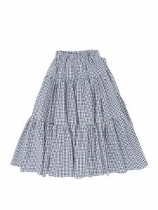 Batsheva - Amy Tiered Gingham-cotton Midi Skirt - Womens - Blue White