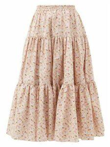 Batsheva - Amy Tiered Floral Print Cotton Skirt - Womens - Light Pink