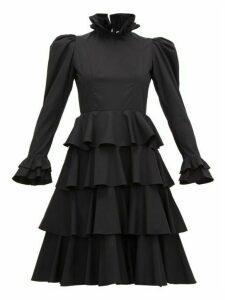 Batsheva - Confection Puffed-sleeve Tiered Cotton Dress - Womens - Black