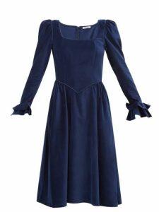 Batsheva - Puffed-sleeve Square-neckline Velvet Dress - Womens - Navy