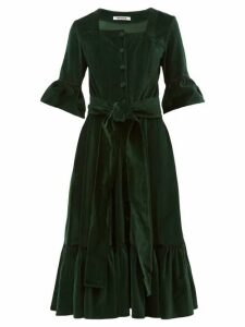 Batsheva - Ruffled Square Neck Cotton Velvet Midi Dress - Womens - Green