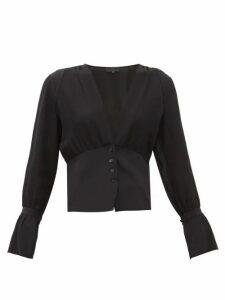 Nili Lotan - Mariana Poet-sleeve V-neck Silk-crepe Top - Womens - Black