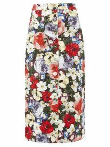 Erdem - Gainor Floral Print Button Down Cotton Blend Skirt - Womens - Black Multi