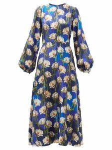 Borgo De Nor - Elista Floral Print Silk Twill Dress - Womens - Navy Multi