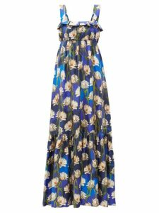 Borgo De Nor - Amina Floral Print Silk Twill Maxi Dress - Womens - Navy Multi