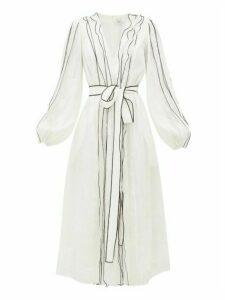 Aje - Banksia Waist-tie Linen-blend Gauze Dress - Womens - White