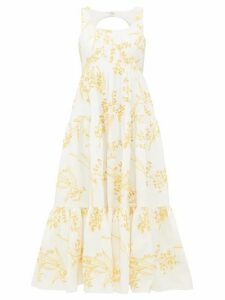 Aje - Mimosa Tiered Broderie Anglaise Cotton Midi Dress - Womens - Yellow White