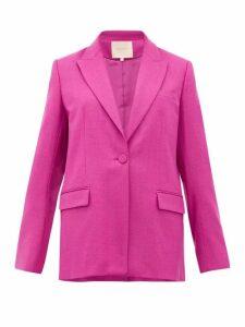 Roksanda - Antalya Single Breasted Wool Blend Blazer - Womens - Dark Pink