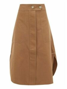 Lee Mathews - Workroom Curved-hem Cotton Skirt - Womens - Khaki