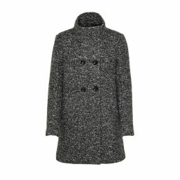 High-Collar Double-Breasted Coat with Button Fastening