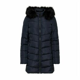 Long Down Jacket with Hood and Zipper