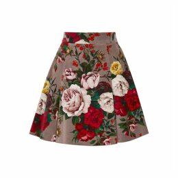 Dolce & Gabbana Floral-print Velvet Mini Skirt