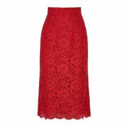 Dolce & Gabbana Red Lace Midi Skirt