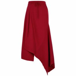 MARQUES' ALMEIDA Red Asymmetric Merino Wool Midi Skirt