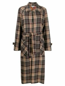Pierre-Louis Mascia check print trench coat - Brown