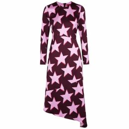 HUGO Komerla Star-print Hammered Satin Midi Dress