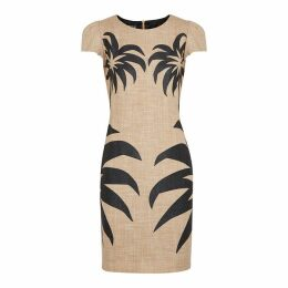 Boutique Moschino Palm-print Cotton-blend Mini Dress