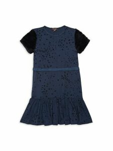 Little Girl's & Girl's Faux Fur-Trim Printed Belted Dress