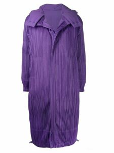 Pleats Please Issey Miyake micro-pleated long coat - PURPLE
