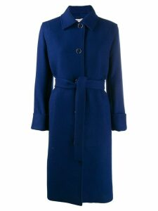 Emilio Pucci belted single breasted coat - Blue