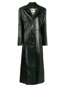 Situationist panelled single-breasted coat - Black