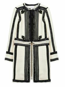 Giambattista Valli contrasting ribbon trim coat - White