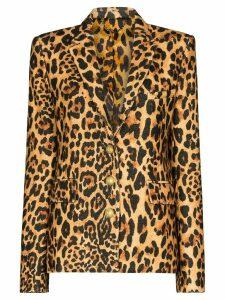 Paco Rabanne tailored leopard print blazer - Brown