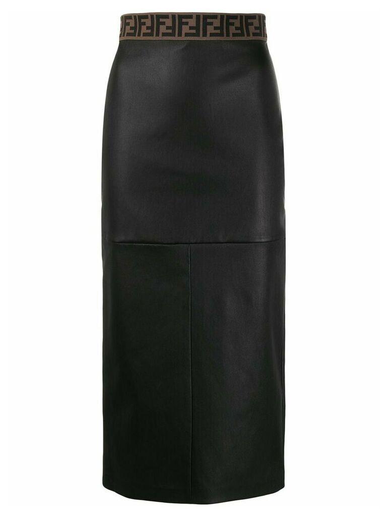 Fendi Zucca trim pencil skirt - Black