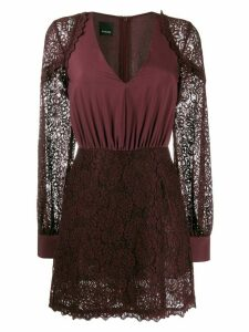 Pinko floral lace V-neck dress - Red