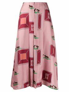 Victoria Beckham horses print pleated silk skirt - PINK