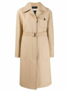 Marni contrast-stitch single-breasted coat - NEUTRALS