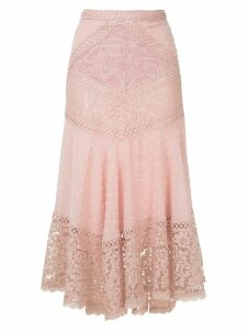 Martha Medeiros Dandara lace mid-lenght skirt - PINK
