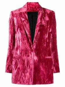 Koché crushed velvet fitted blazer - Pink