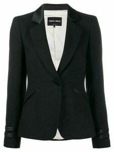 Giorgio Armani faux leather trim blazer - Black