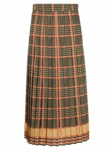 Gucci check print pleated skirt - Brown