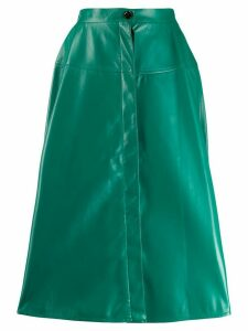 Marni high-waisted leather midi-skirt - Green