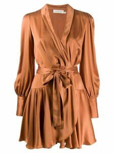 Zimmermann Eight satin wrap dress - Brown
