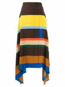 Chinti & Parker striped asymmetric skirt - Brown