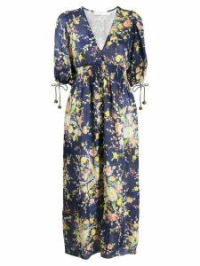 Zimmermann Zinnia Cobalt Floral shirred dress - Blue