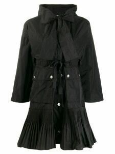 Red Valentino pleated hem hooded coat - Black