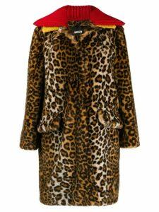 Miu Miu leopard pattern coat - Brown