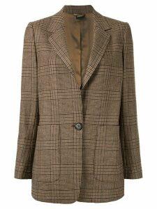Aspesi checked single-breasted blazer - Brown