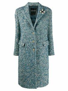 Ermanno Scervino woven single-breasted coat - Blue