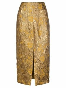 Brock Collection floral high-waisted skirt - Gold