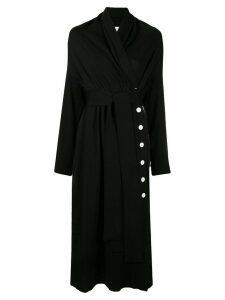 AKIRA NAKA side button tie waist cardi-coat - Black