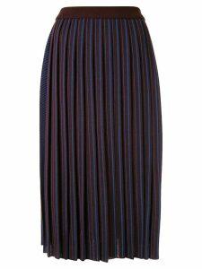 AKIRA NAKA striped pattern knitted skirt - Brown