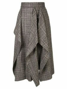 AKIRA NAKA check print draped skirt - Brown