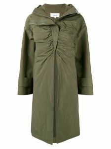 AKIRA NAKA ruched front hooded coat - Green