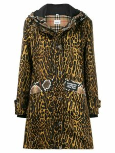 Burberry animal print hooded parka - Brown