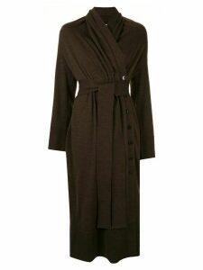 AKIRA NAKA wrap style knitted dress - Brown